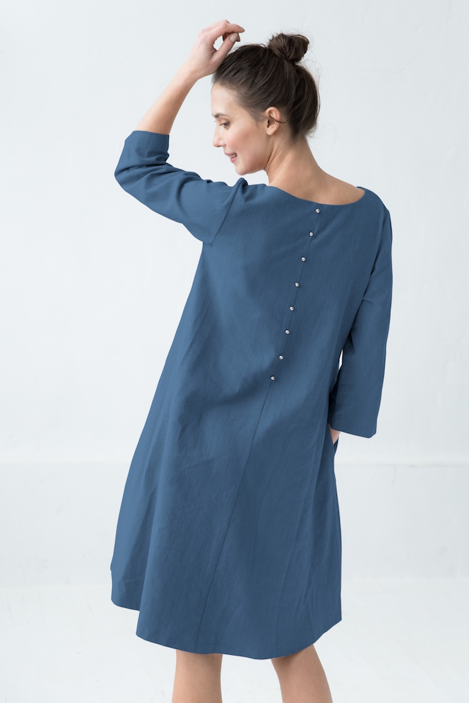 Simple linen dress in blue CALMNESS