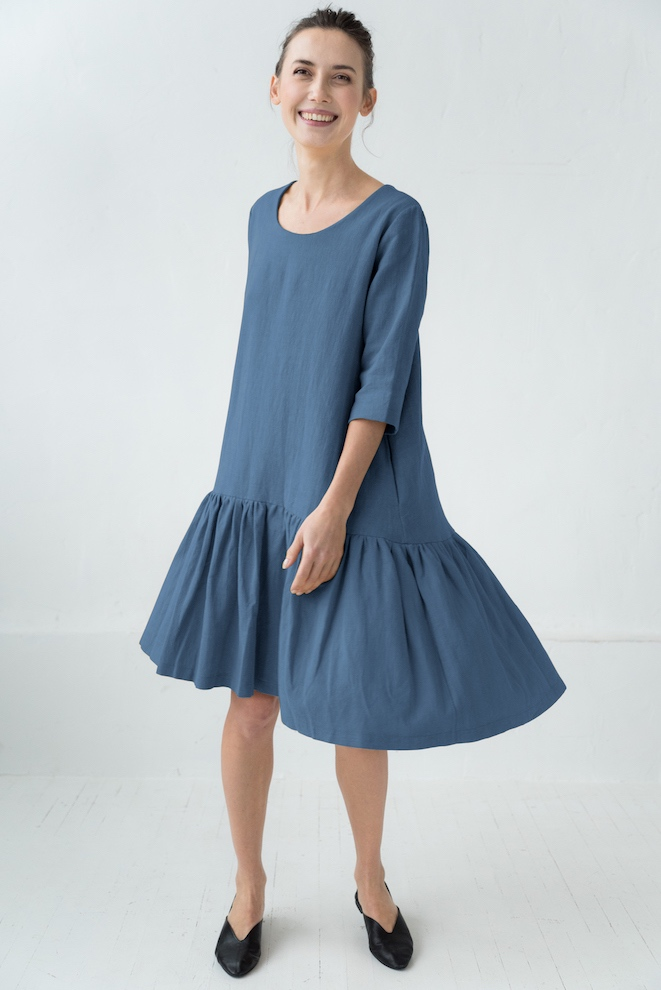 Loose linen dress in blue DISCO
