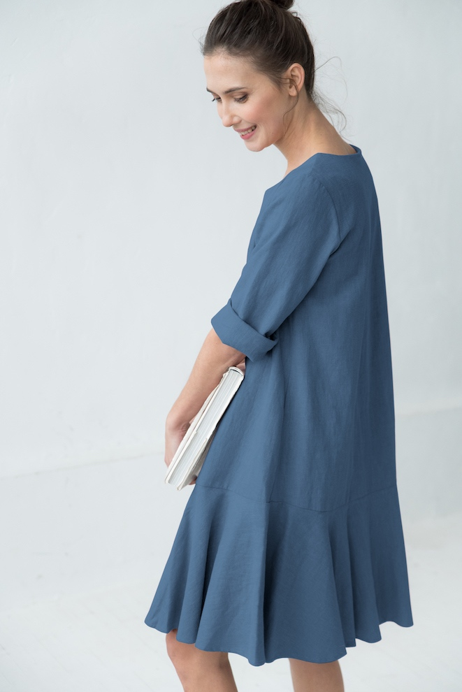 Blue linen dress NORA