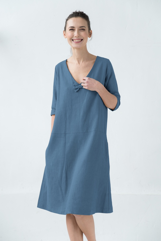 Washed linen dress in blue SUN