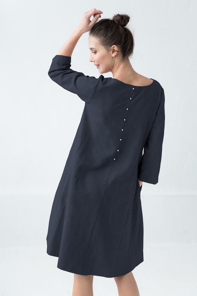 Linen button down dress in deep blue CALMNESS