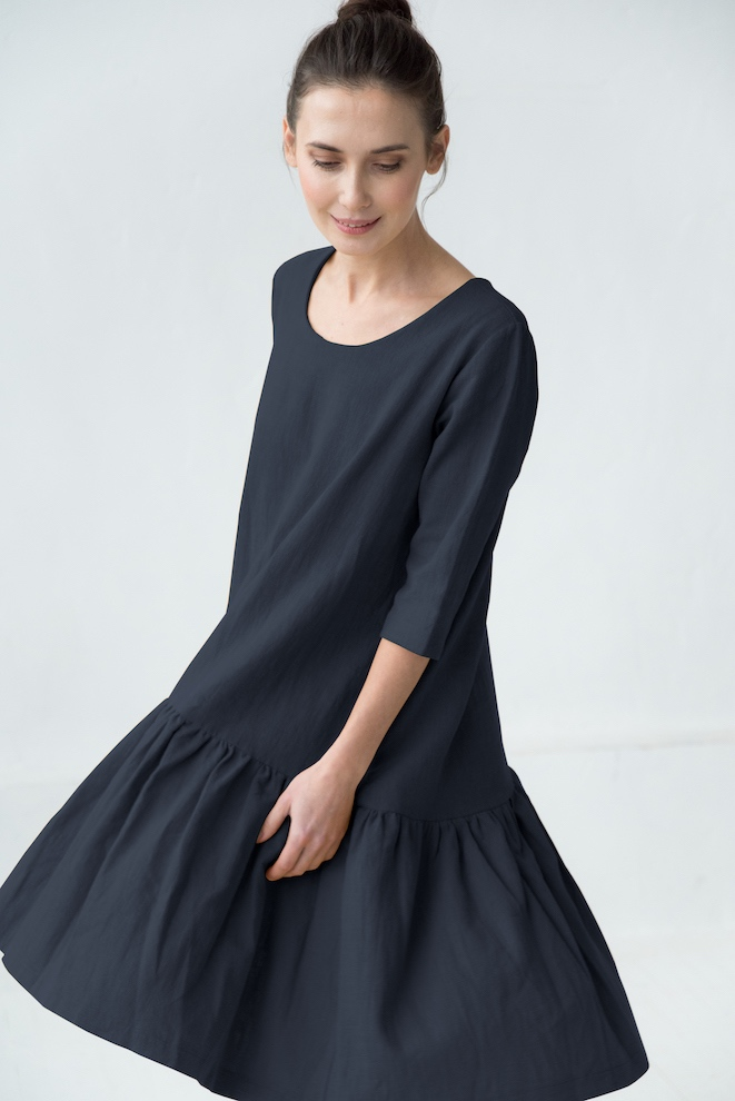 Natural linen deep blue dress DISCO