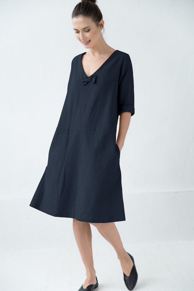 Linen tunic dress in deep blue SUN