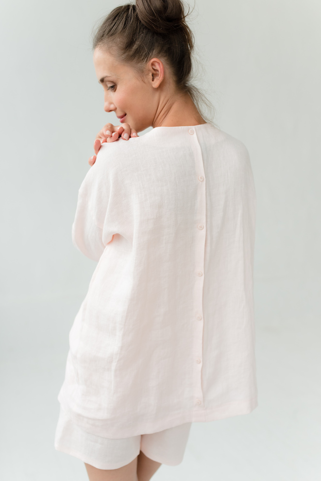 Linen pyjama shirt in rose WEEKEND