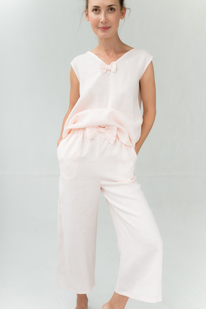 Linen pants in rose GOODNIGHT