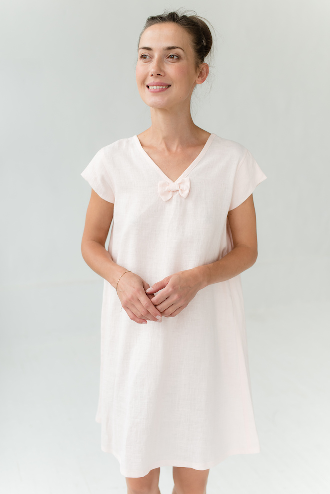 Linen nightie in rose STARS