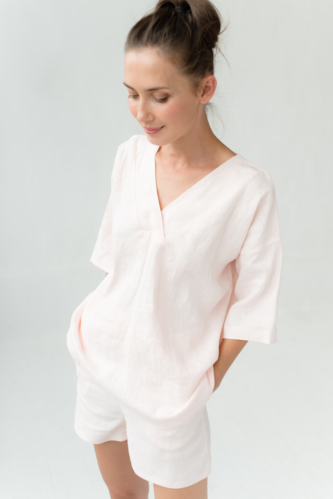 Linen pajama set in rose WEEKEND