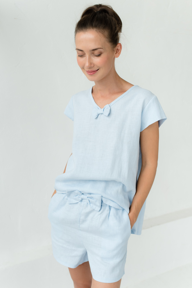 Linen pajamas in light blue LOVEANDSLEEP