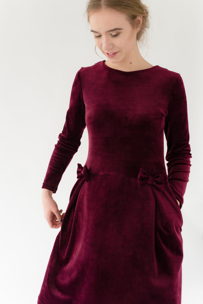 LeMuse burgundy MADMUAZEL velvet dress