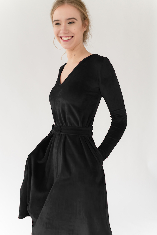LeMuse black JAZZ velvet dress
