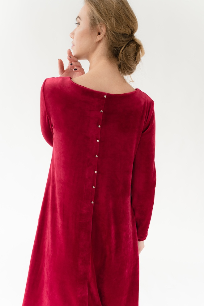 LeMuse red CALMNESS velvet dress