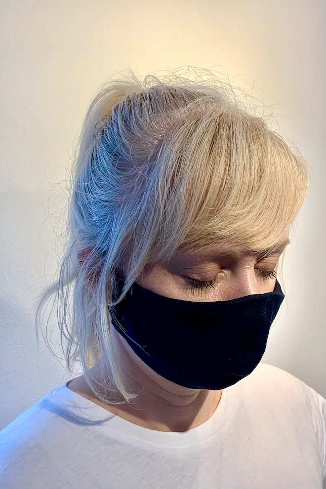 Reusable deep blue linen face mask