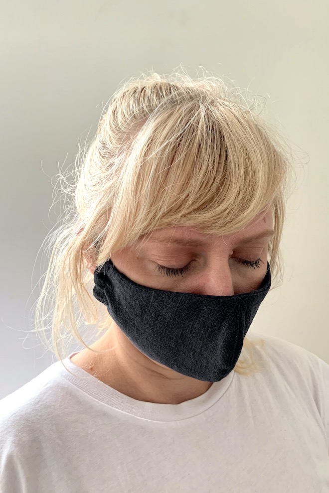 Reusable dark grey linen face mask