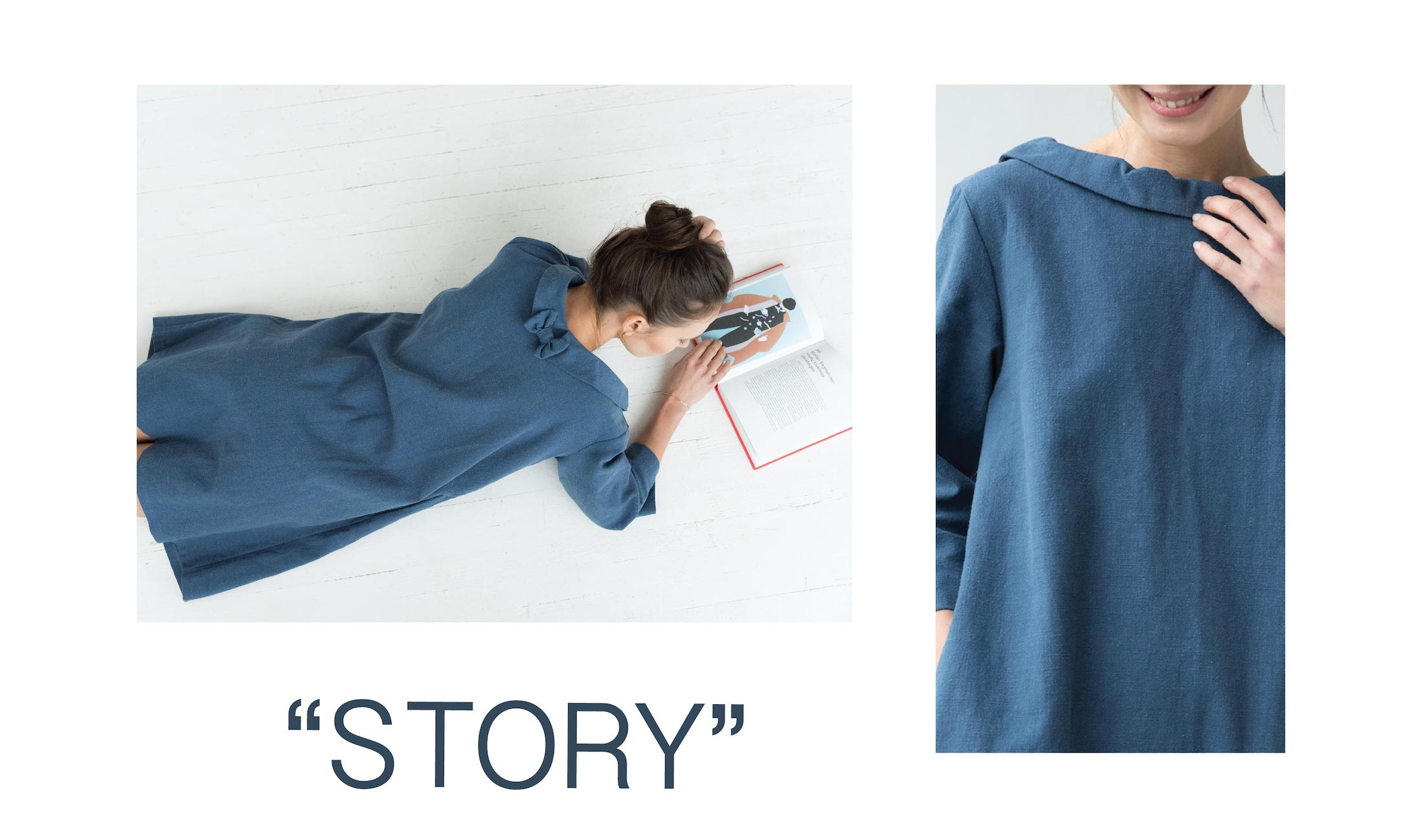 Retro linen dress STORY in Blue