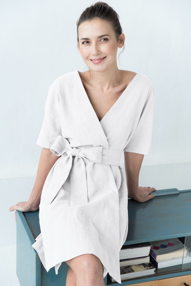 LeMuse white CHLOE linen dress