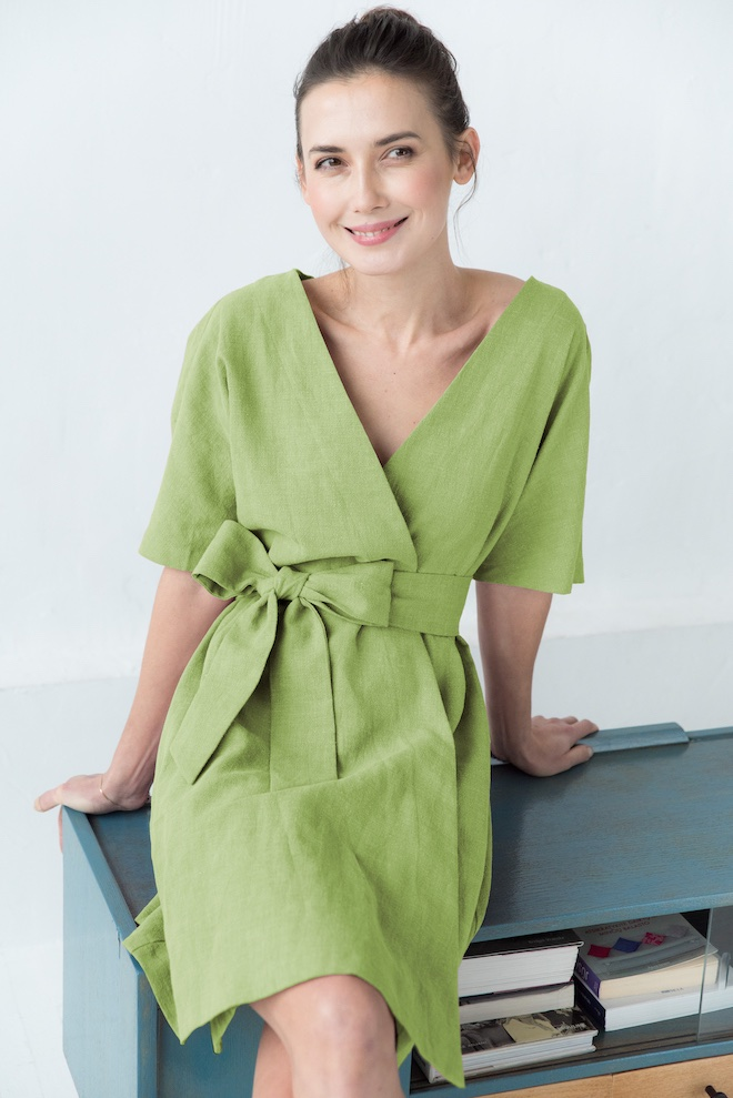 LeMuse moss green CHLOE linen dress