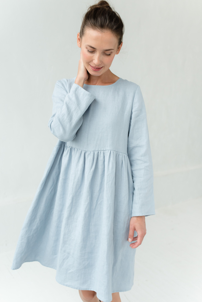LeMuse light blue CANDY linen dress