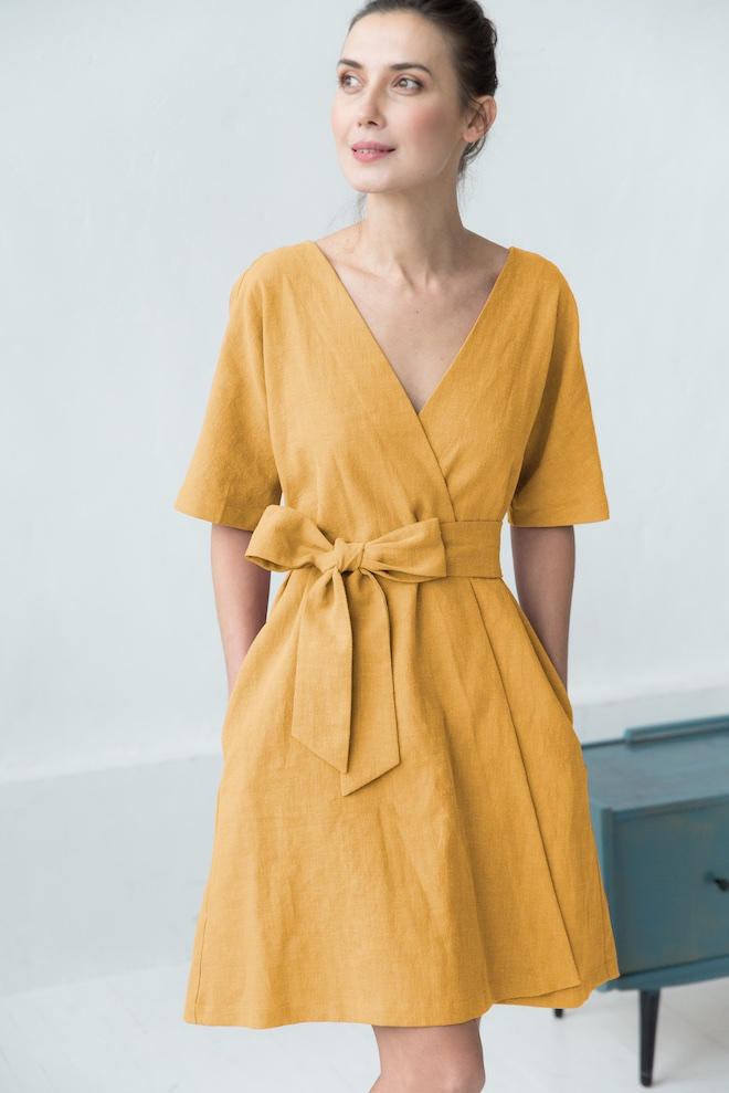 LeMuse yellow CHLOE linen dress